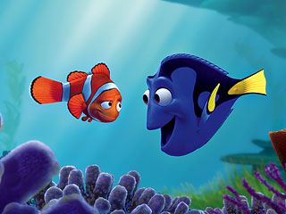 FINDING NEMO Marlin (voice by Albert Brooks) and Dory (voice by Ellen DeGeneres)