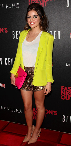 Lucy Hale at the Beverly Center's Fashion's Night Out party