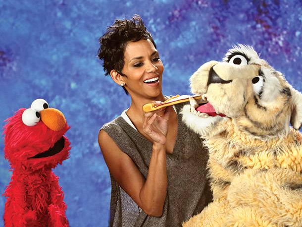 Halle Berry, Sesame Street | The Oscar winner showed her strong improvisational skills when she got the word nibble at the last minute, pretending to be scared of a t-t-t-t-tiger…
