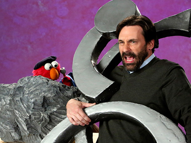 Jon Hamm, Sesame Street | Says Kevin Clash, the puppeteer behind Elmo, ''Jon Hamm was unbelievable. He was so funny. His timing was great.''