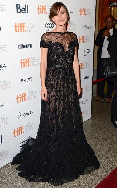 Keira Knightley (in Elie Saab) at the premiere of Anna Karenina