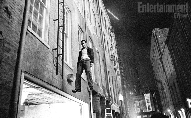 When Joe does fall from the ladder, Gordon-Levitt was rigged up for safety on what turned out to be a very special day for the…