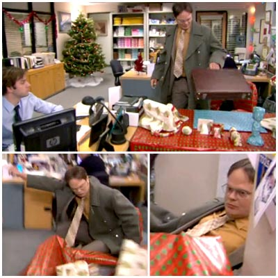The Office | ''Moroccan Christmas'' (season 5, episode 11) Jim, always thinking of what to get his bullpen-mate for the holidays, decided to wrap Dwight's desk, chair, lamp,…