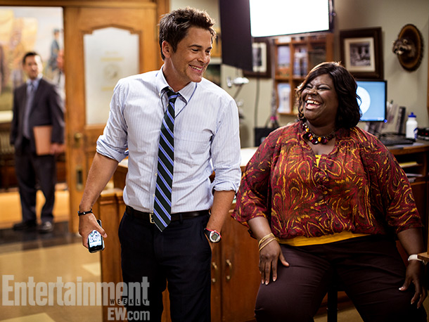 True to form for his character Chris Traeger, Rob Lowe (center) was nothing less than upbeat during some downtime with co-star Retta. — Dan Snierson