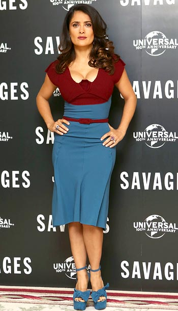 Salma Hayek (in Roland Mouret) at a photo call for Savages in London