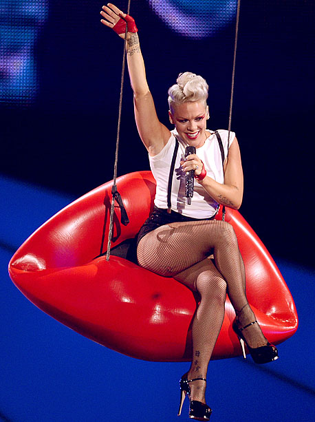 MTV Video Music Awards 2012 | Just when you were thinking, ''An aerial act? Again?'' Pink pulled out something far crazier: a full lineup of dancing lips. And not just dancing,…