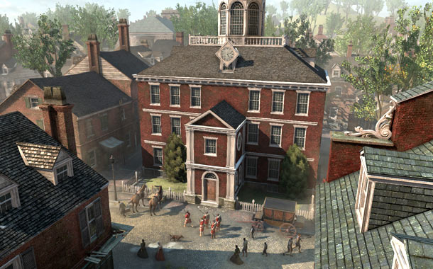 Assassin's Creed 3 | Boston doesn't sport a cloud-parting skyline like previous series' settings, but its buildings' close proximity offers ample opportunity to free-run through the city without touching…