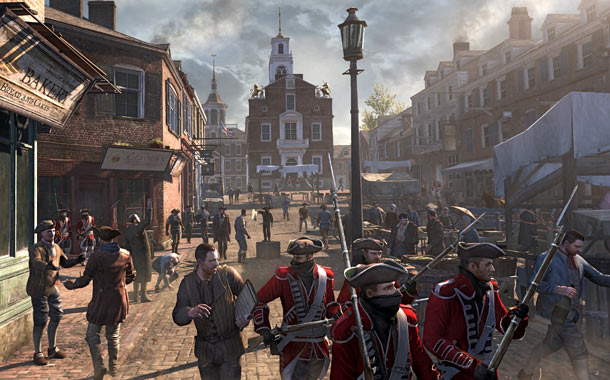Assassin's Creed 3 | Drenched in authentic detail — check out the gold lion and unicorn statues — ACIII 's version of Boston's Old State House looks near-identical to…