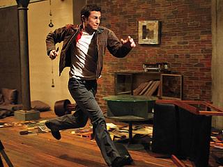 LOOPY LEVITT Joseph Gordon-Levitt runs away from his future self