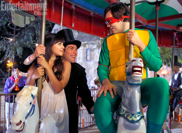 New Girl (10/30): Hannah Simone as an angel, Max Greenfield as Abraham Lincoln, and Nelson Franklin as a Teenage Mutant Ninja Turtle
