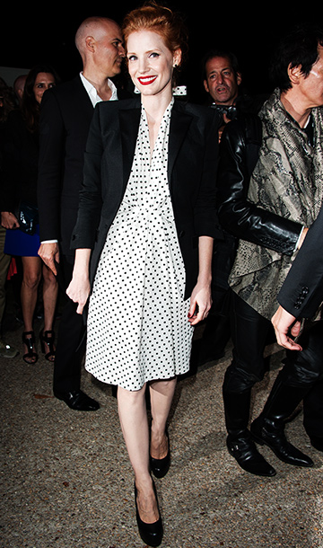 Jessica Chastain at the Saint Laurent Spring 2013 fashion show during Paris Fashion Week
