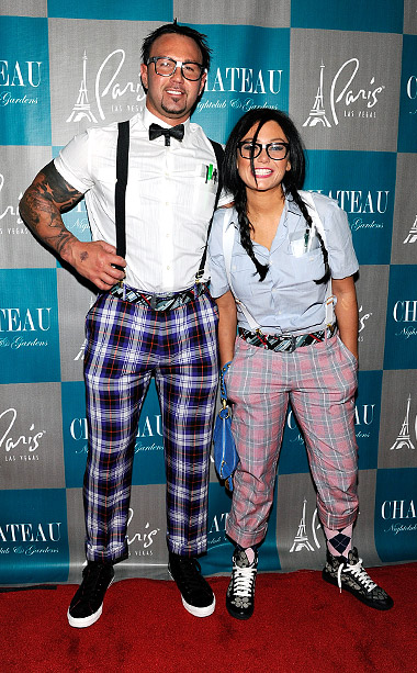 Jersey Shore's Jenni ''JWoww'' Farley and fiancé Roger Mathews at the Halloween at Chateau Nightclub & Gardens at the Paris Las Vegas