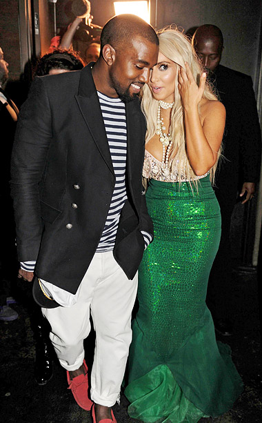 Kanye West as a sailor and Kim Kardashian as a mermaid at the 2nd annual Midori Green Halloween Party in New York City