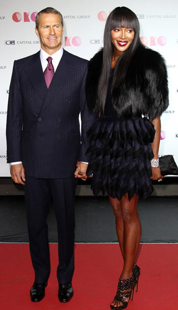 Vladislav Doronin and Naomi Campbell at the presentation of the new Capital Group skyscraper development project OKO in Moscow