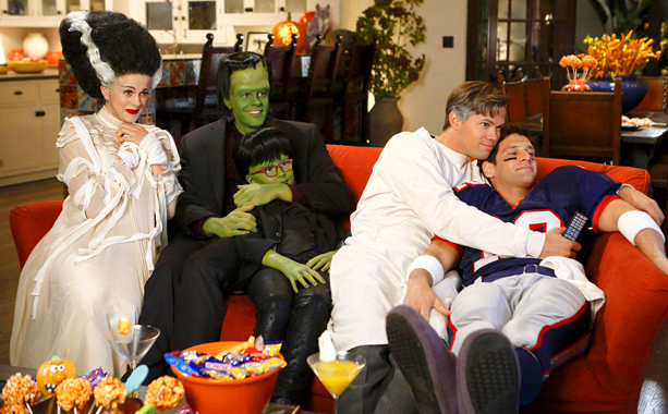 The New Normal (10/30): Georgia King, Jason Blair, and Bebe Wood as the Frankenstein monster family; Andrew Rannells as Dr. Frankenstein; Justin Bartha as NFL quarterback Tom Brady