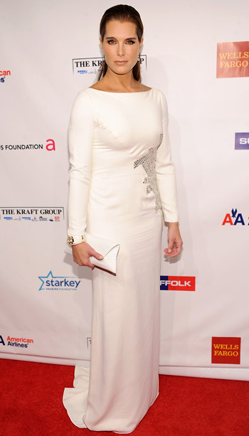 Brooke Shields at the Elton John AIDS Foundation's 11th annual An Enduring Vision benefit in New York City