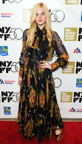 Elle Fanning at the Ginger & Rosa premiere during the 50th New York Film Festival in New York City