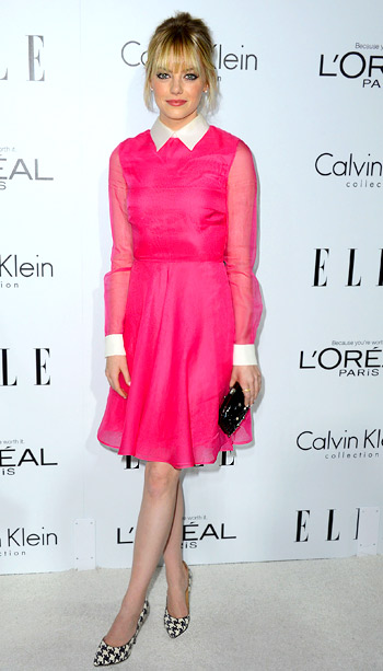 Emma Stone (in Valentino) at Elle's 19th annual Women in Hollywood celebration
