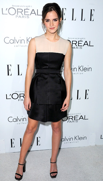 Emma Watson (in Calvin Klein) at Elle's 19th annual Women in Hollywood celebration