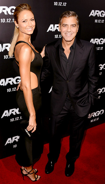 Stecy Keibler and George Clooney at a screening of Argo in New York City