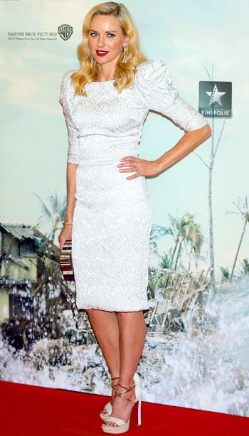 Naomi Watts (in Marchesa) at the Madrid premiere of The Impossible