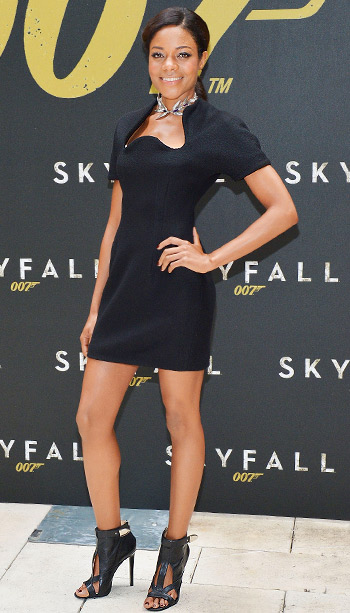 Naomie Harris (in Marios Schwab) at the Skyfall cast photo call in New York City