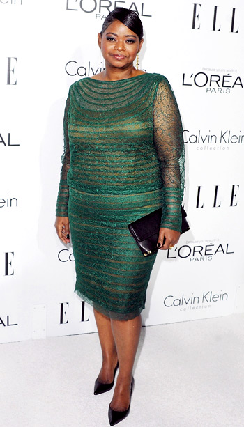 Octavia Spencer (in Tadashi Shoji) at Elle's 19th annual Women in Hollywood celebration