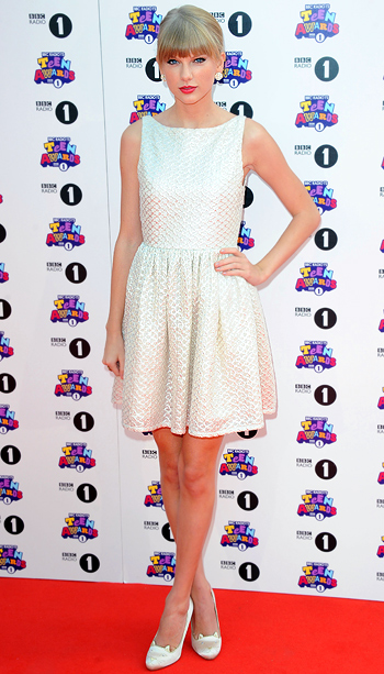 Taylor Swift (in Alice + Olivia) at the BBC Radio 1 Teen Awards in London