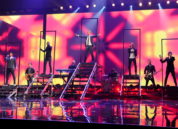 With the first of many pyrotechnic performances of the night, the Brits took advantage of the opportunity to get a leg up on One Direction…