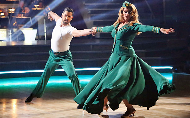 In honor of Veteran's Day, Kirstie and Maks dressed in WWII-themed dance uniforms to pay homage to America's servicemen and women. The couple's demure ensembles…