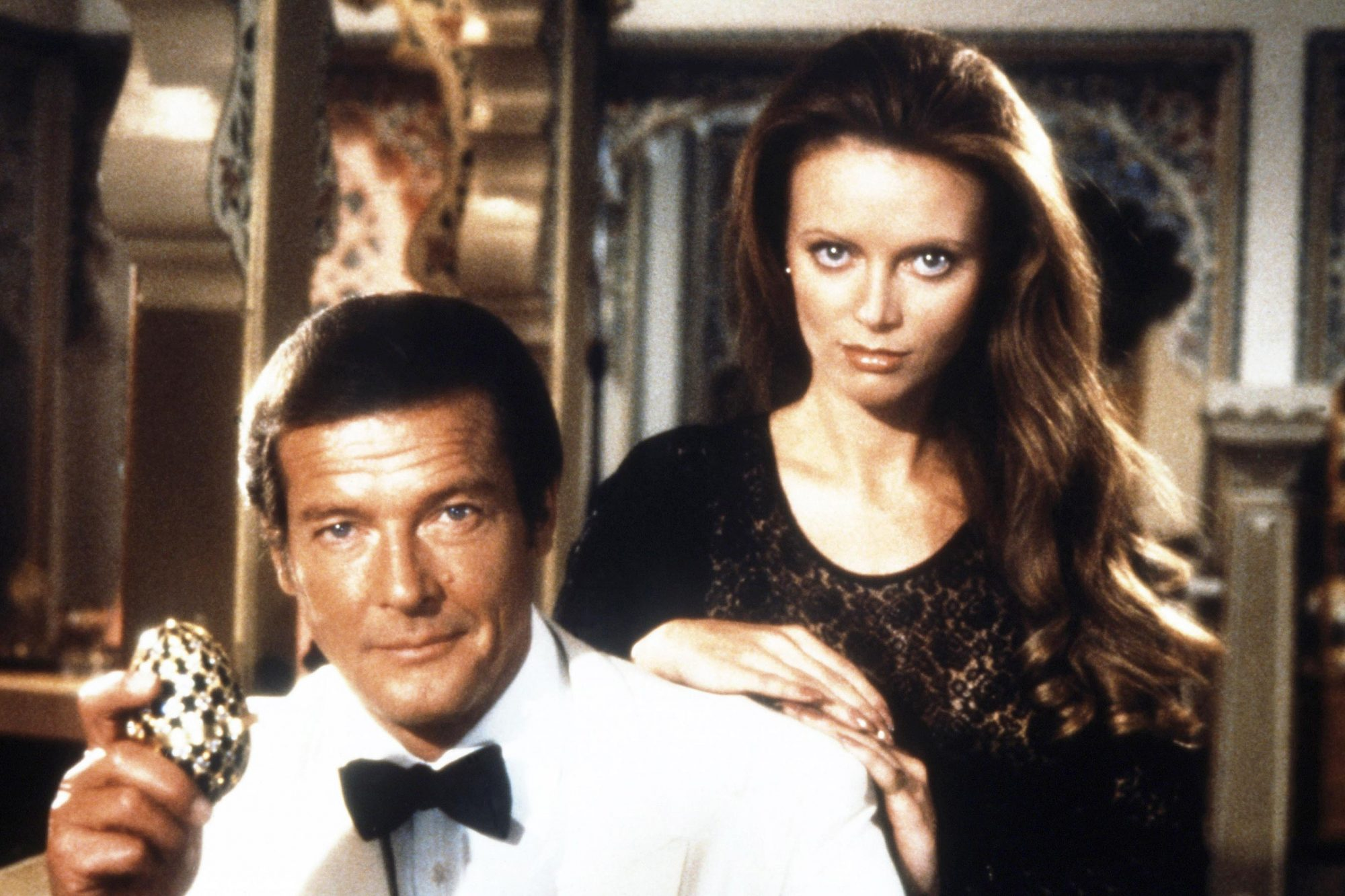 OCTOPUSSY, from left: Roger Moore, Kristina Wayborn, 1983, (c) United Artists/courtesy Everett Colle
