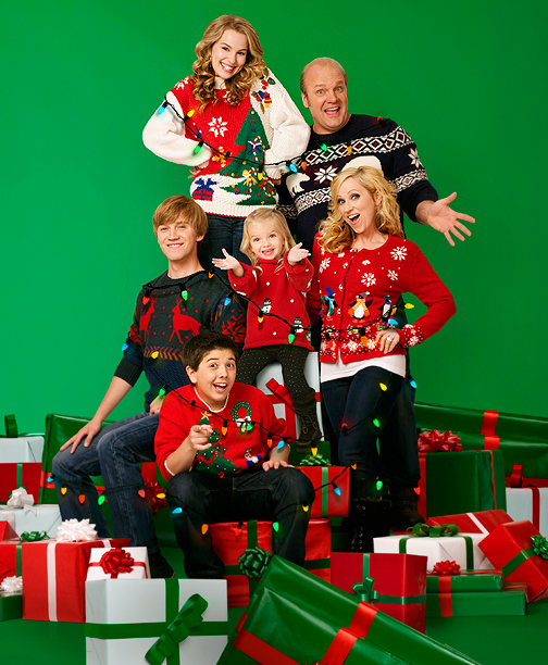 Clockwise from top left: Bridgit Mendler, Eric Allan Kramer, Leigh-Allyn Baker, Mia Talerico, Bradley Steven Perry, and Jason Dolley