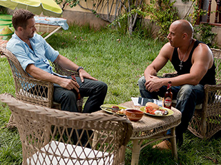 'FURIOUS' FACES Paul Walker and Vin Diesel look to be deep in thought in the latest Fast and the Furious sequel