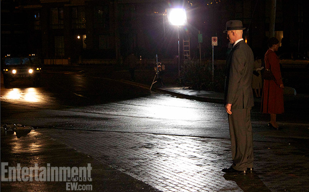 Fringe (Season 5) | Wyman snapped this photo because it captured the film noir/Edward Hopper ''Nighthawks'' vibe of the season, expressed through wardrobe choices for the Observers' human collaborators,…