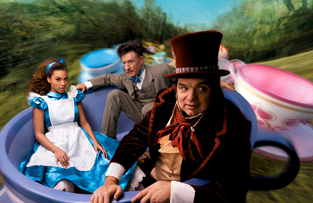 Beyoncé as Alice, Lyle Lovett as the March Hare, and Oliver Platt as The Mad Hatter