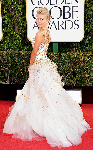 Golden Globe Awards 2013 | I love when edgy meets elegant, but in this case Hough's faux-hawk and punk makeup clashed with her amazingly detailed frock. And what was with…