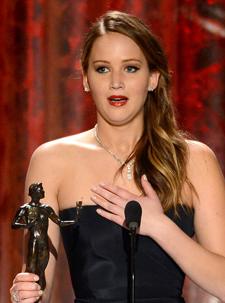 Who said MTV never gave us anything? In her acceptance speech for Outstanding Female Movie Actor, Jennifer Lawrence revealed she earned her SAG card by…