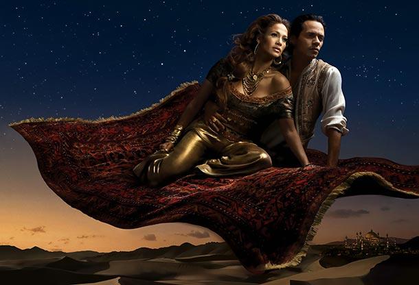 Jennifer Lopez as Princess Jasmine and Marc Anthony as Aladdin