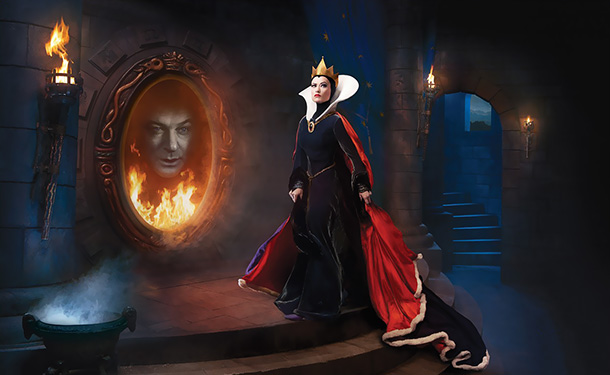 Alec Baldwin as the Magic Mirror and Olivia Wilde as the Evil Queen