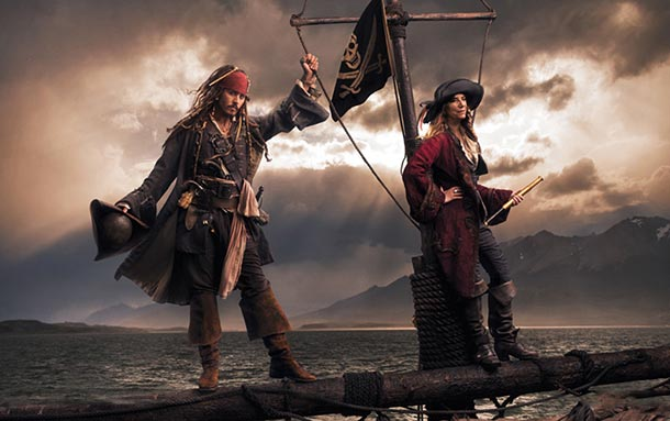 Johnny Depp as Jack Sparrow and Patti Smith as Second Pirate in Command