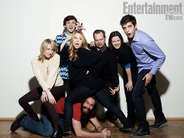Mamie Gummer, Alex Shaffer, Kristen Bell, Josh Harto, Liz W. Garcia (director), David Lambert, and Martin Starr (bottom), The Lifeguard
