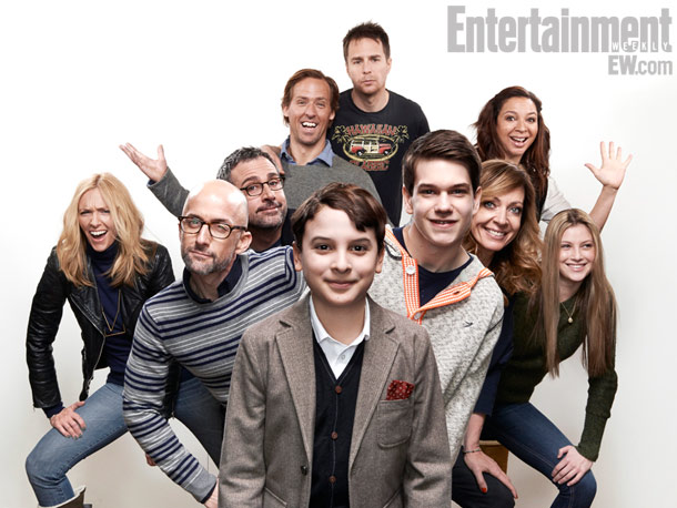 (From top) Sam Rockwell, Nat Faxon (director), Maya Rudolph, Toni Collette, Steve Carell, Allison Janney, Zoe Levin, Jim Rash (writer), Liam Jame, and River Alexander, The Way, Way Back