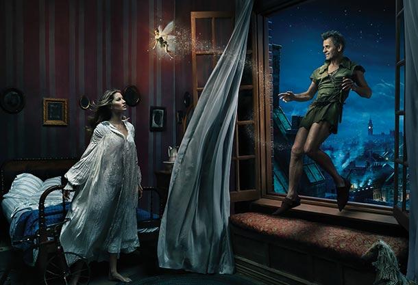 Gisele Bündchen as Wendy Darling, Mikhail Baryshnikov as Peter Pan, and Tina Fey as Tinker Bell