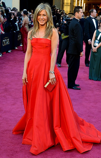 Style, Style: Red Carpet, ... | Aniston's Valentino gown may not have been the most exciting look of the night, but the bold red color helped it stand out. B-
