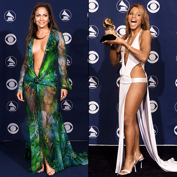 Toni Braxton, Jennifer Lopez   The shockingly low-cut sheer Versace gown Lopez wore to accompany P Diddy to the ceremony would definitely violate CBS' new Grammys dress code . Ditto…