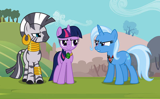 Of course, there are other villains that occasionally threaten Ponyville — like Trixie (on the right), a traveling magician unicorn whose boastfulness stands in sharp…