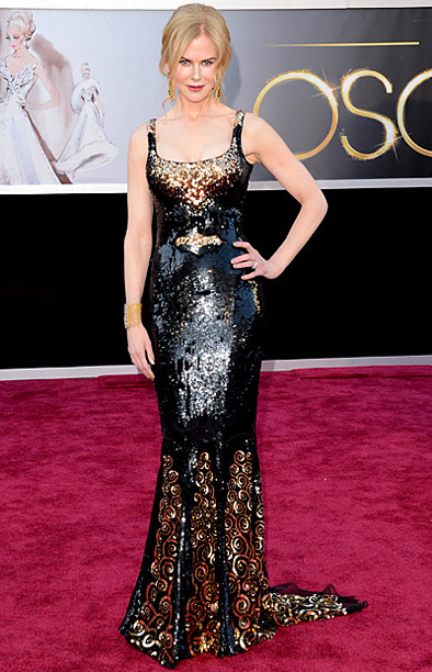 Style, Style: Red Carpet, ... | Kidman turned heads in this sleek black and gold metallic gown by L'Wren Scott. B+