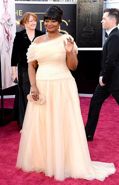 Style, Style: Red Carpet, ... | Spencer turned to Tadashi Shoji, her designer of choice, for this beautiful blush ensemble with a tulle shoulder. B