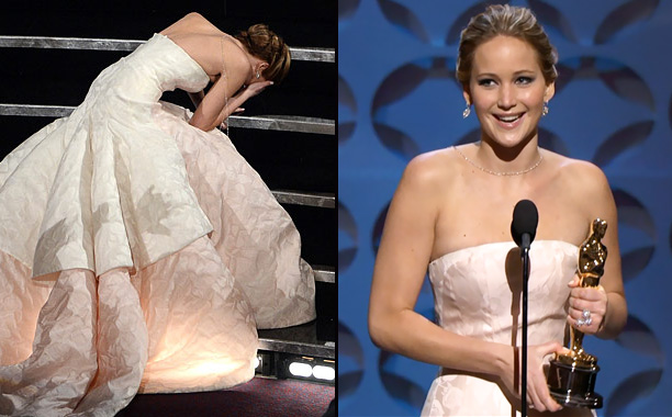 Now the second-youngest actress to win the Best Actress award, Lawrence had an unfortunate stumble on the way to the stage. But she picked herself…