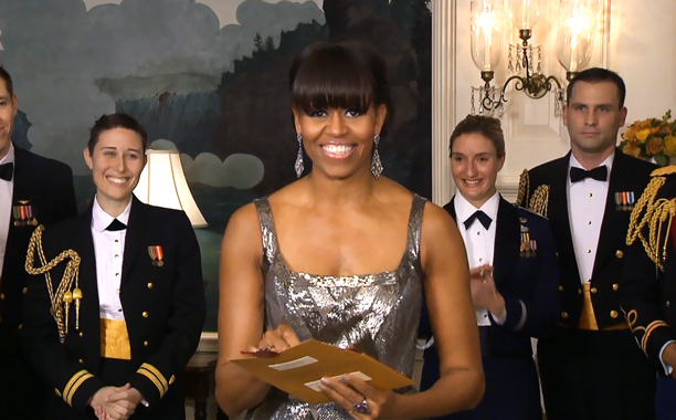 In one of the night's most unnecessary, unnatural pairings, the First Lady teamed up with the three-time Oscar winner (via satellite) to present the final…